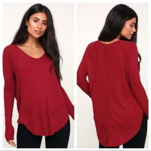 We the Free Red Catalina long sleeve Thermal Top